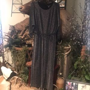 Black with silver shimmer pants suit